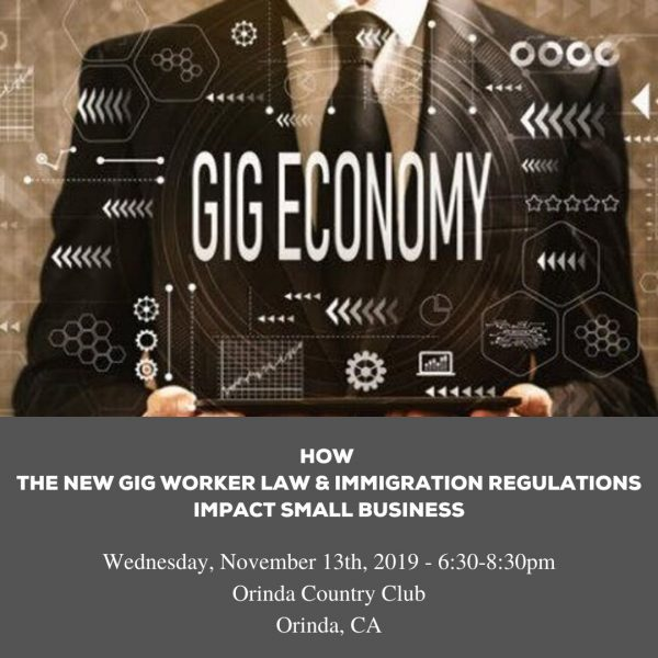 Event: How the New Gig Worker Law & Immigration Regulations Impact Small Business – November 13, 2019